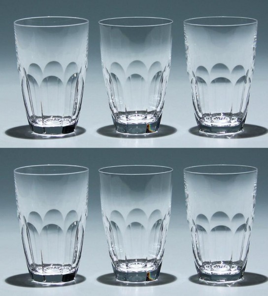 6 Peill Bleikristall Bechergläser ATLANTIS - 10,4 cm - 1 Becher mit kl. Chip
