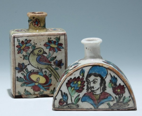 A Pair of Persian Quajar Ceramic Bottle Vases - Replicas