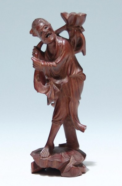 Carved Boxwood Figure of a Walking Man