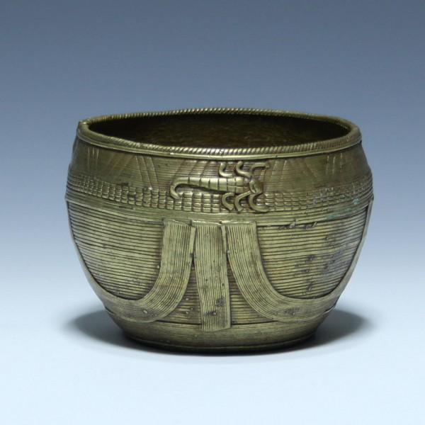 Indian Dokra Brass Bowl from Orissa SCORPION AND FISH- 19th C.