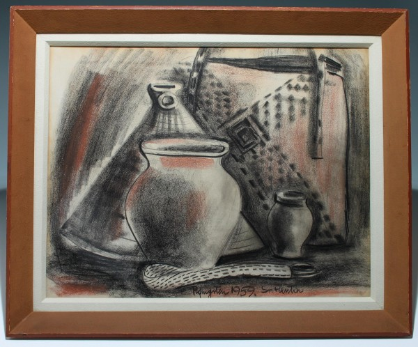 Kohlezeichnung STILLEBEN MIT VASEN - signiert Pfingsten 1959 Sr. Pientia