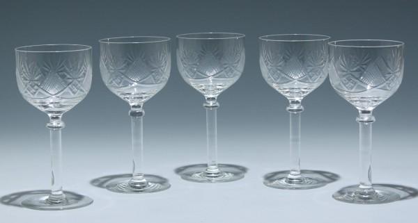 5 Weingläser mit Schliff 1920er Jahre