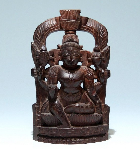 Indian Goddess Parvathi - Wood Carving - 20 th. C.
