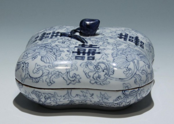 Chinese Blue and White Sweetmeat Porcelain Box