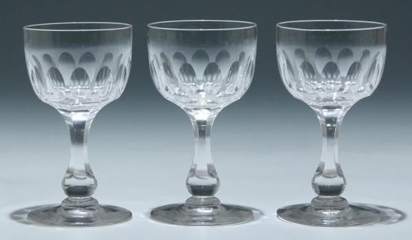 3 Bleikristall Kelchgläser Frankreich circa 1900 - Höhe 12,2 cm