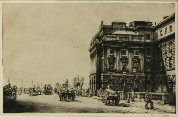 Francis Dodd (1874-1949) Radierung Etching PALL MALL Waterloo Place London?