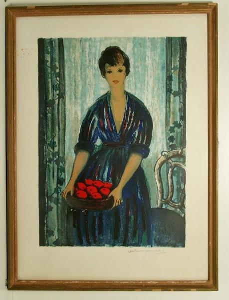 Große Farblithographie Antoine Serneels circa 1940-50