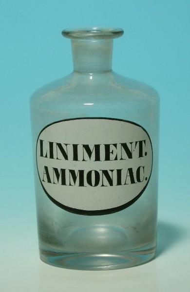 Apothekenflasche mit Abriss 19. Jh. LINIMENT. AMMONIAC. 12,8 cm