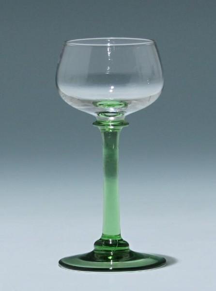 Jugendstil Weinglas mit grünem Fuß und Stängel - 13 cm