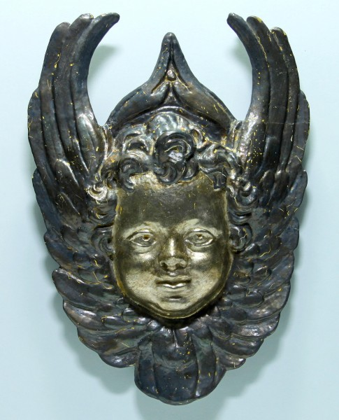 Stuck-Engel zur Wandaufhängung mit Versilberung - 38 x 27 cm