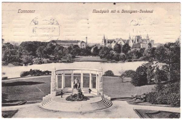 AK - HANNOVER - Benningsen-Denkmal - gelaufen 1910 #ak0147