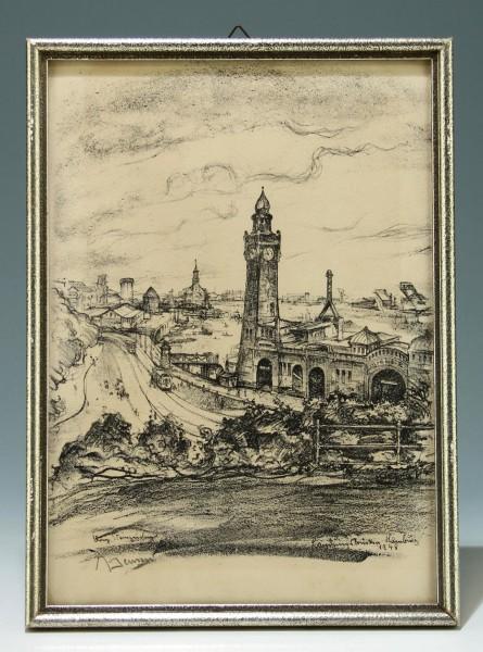 Alfred Jensen Steinzeichnung Landungsbrücken Hamburg 1948 mit Bleistift signiert