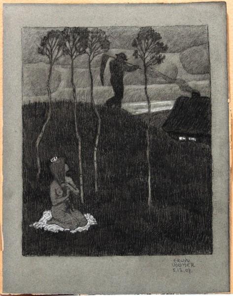 Frühe Jugendstil Kohlezeichnung PRINZESSIN signiert Erwin Vollmer 1907