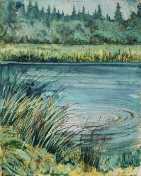 Ölgemälde TEICHLANDSCHAFT von Harald Illies (1911-1985)