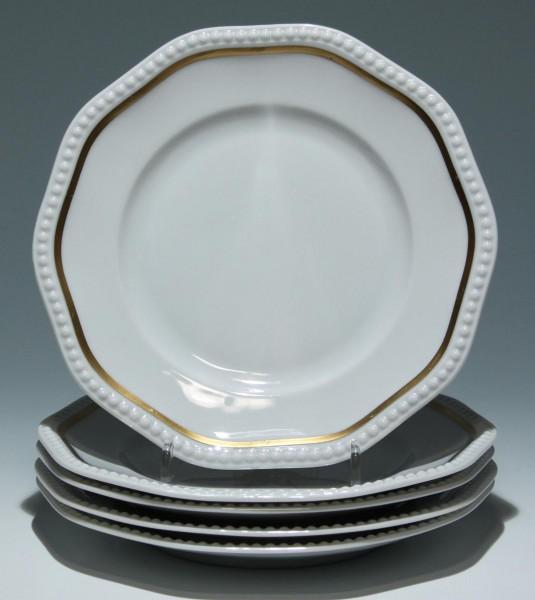 5 Rosenthal Kuchenteller PERLRAND mit Goldrand - 20 cm