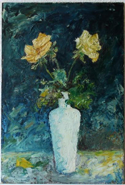 Blumenstilleben auf Sperrholz - signiert F. ROTERS 1963 45 x 30,6 cm