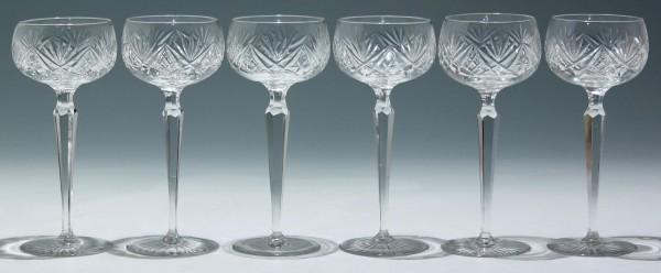 6 Weingläser mit Schliffdekoration - 1. H. 20. Jh.