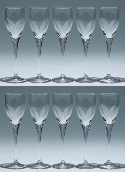 10 Schott Christinenhütte Bleikristall Sherrygläser