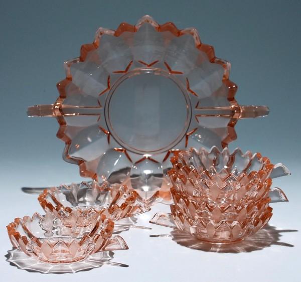Art Deco Pressglas Schalen Set 7 Teile rosafarben 1930er Jahre
