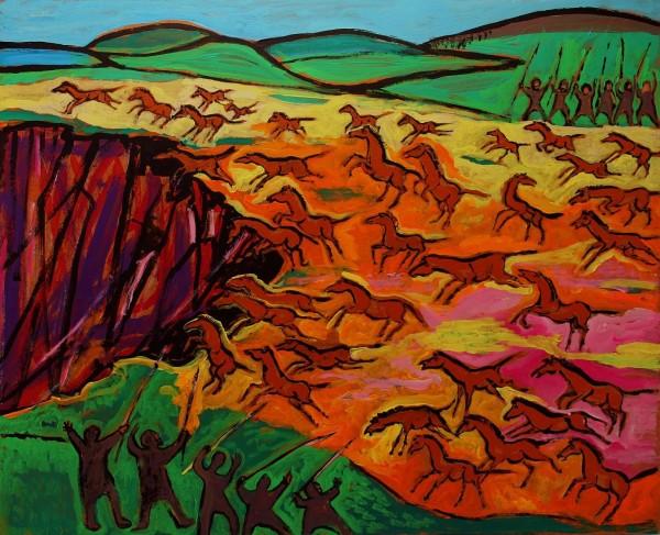 Gemälde Vorzeitliche Pferde Jagd 1970/80er Jahre 65 x 80 cm