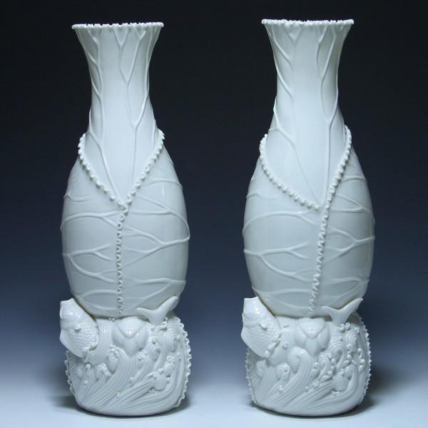 Pair of Maitland Smith Chinese Blanc de Chine Fish Vases - 1960s