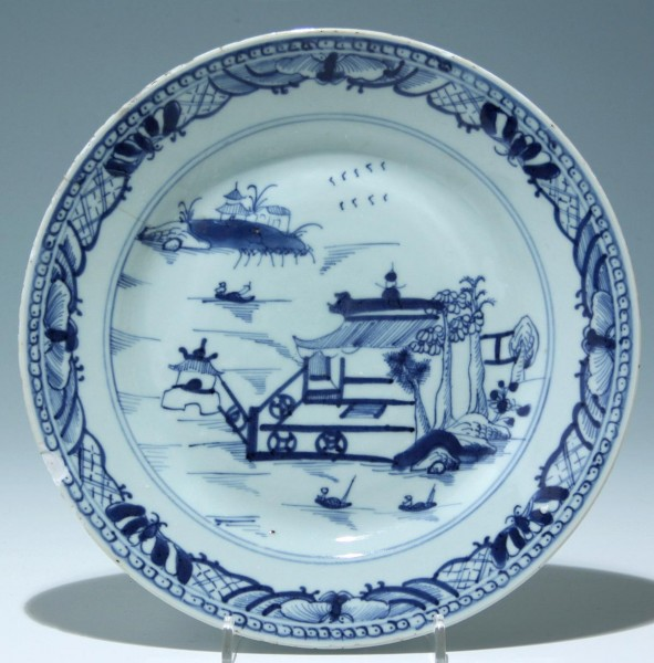 Old Chinese Blue & White Plate - damaged