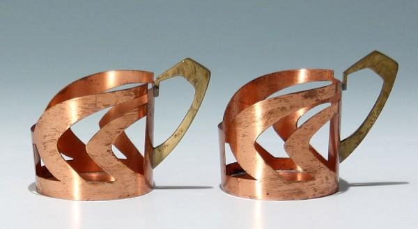 Paar Jugendstil Teeglashalter aus Kupfer / Messing