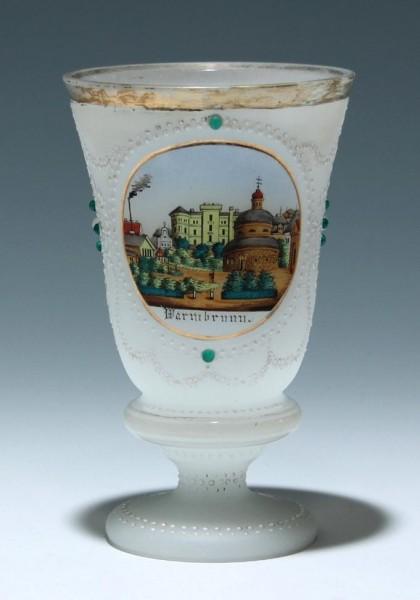 Alabasterglasbecher mit Glassteinen WARMBRUNN circa 1850