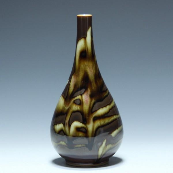 Japanese Brown Flambe Porcelain Vase