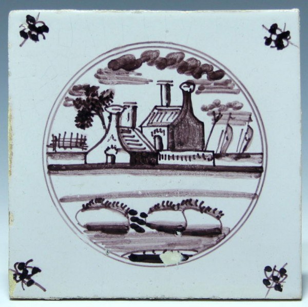 Holland Fliese Tegel Dutch Tile 18. Jh. 13 x 13 cm