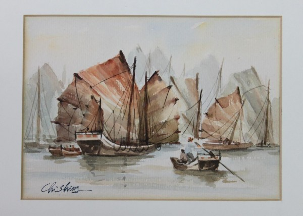 2 Chinese Watercolors RIVERBOATS by Chi Shing