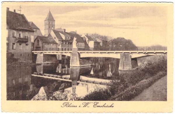 AK RHEINE - Emsbrücke - MEPPEN BAHNPOST - gelaufen 191? #ak0094