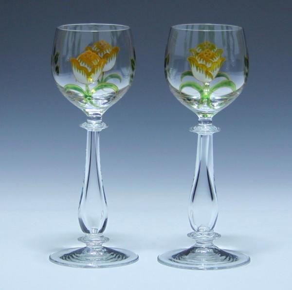 Paar handbemalte Theresienthal Weingläser 1980er Jahre