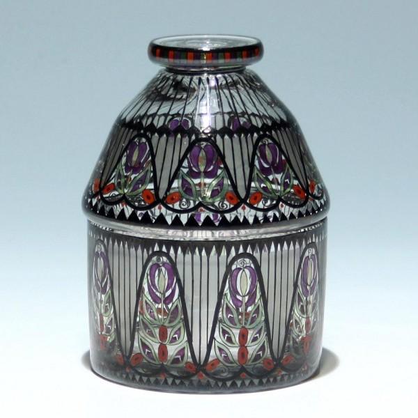 Art Deco Glasdose mit Schwarzlotbemalung Haida / Steinschönau um 1920