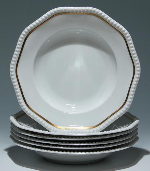 6 tiefe Rosenthal Speiseteller PERLRAND mit Goldrand - 26,3 cm