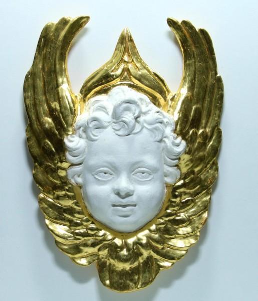 Stuck-Engel zur Wandaufhängung mit Blattvergoldung - 38 x 27 cm