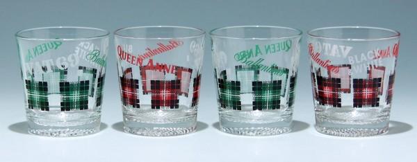 4 Whiskey Becher VAT 69 - QUEEN ANNE - BLACK & WHITE - Ballantines1960/70er Jahre