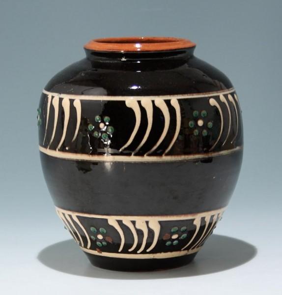Gedrehte Keramikvase mit Ritzsignatur - Mitte 20. Jh.