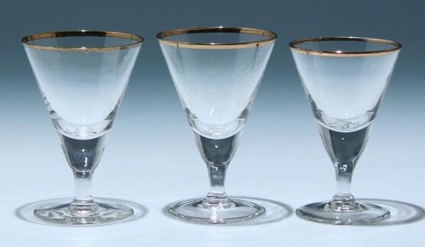 3 Art Deco Kelchgläser Frankreich - Höhe 12,2 + 11,5 cm