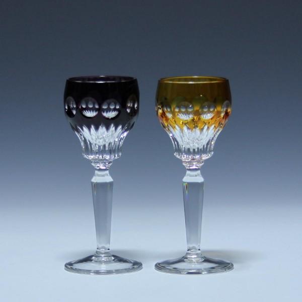 Paar Bleikristall Überfangglas Likörrömer - 12,4 cm