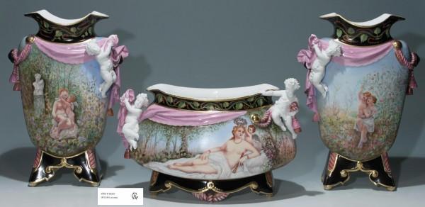Large Limoges GIBUS & REDON Garniture de Cheminée 1872-1881