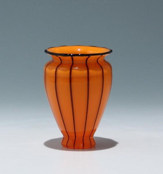 """Kleine Jugendstil Loetz Vase """"Orange mit schwarzen Streifen"""" 11,7 cm"""