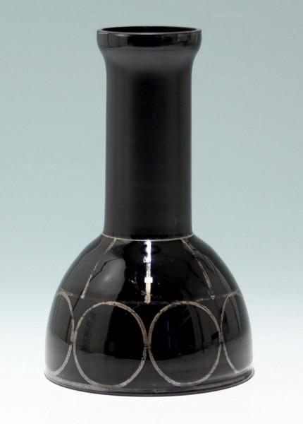 Schwarze Art Deco Vase mit Silberlotbemalung - circa 1930 - Chip am Rand