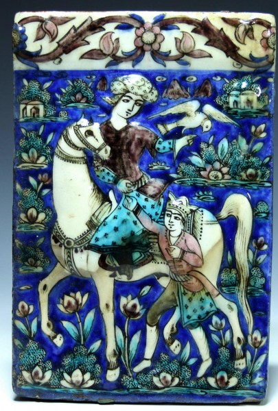 Qajar Molded Pottery Tile HORSE RIDER WITH FALCON - 19th Century