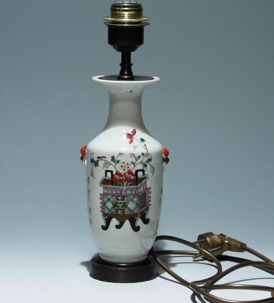 Handpainted Chinese Lamped Vase Desklamp - circa 1900