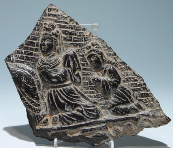 Tibetan Buddhist Black Stone Carving - 21 x 23 cm