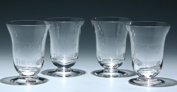4 Bleikristall Gläser mit Werbelogo THEIMER Cristallerie Oberursel 1980er Jahre