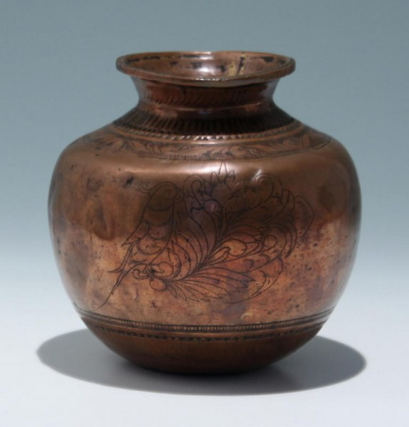 Indian Cockatoo Incised Copper Vase