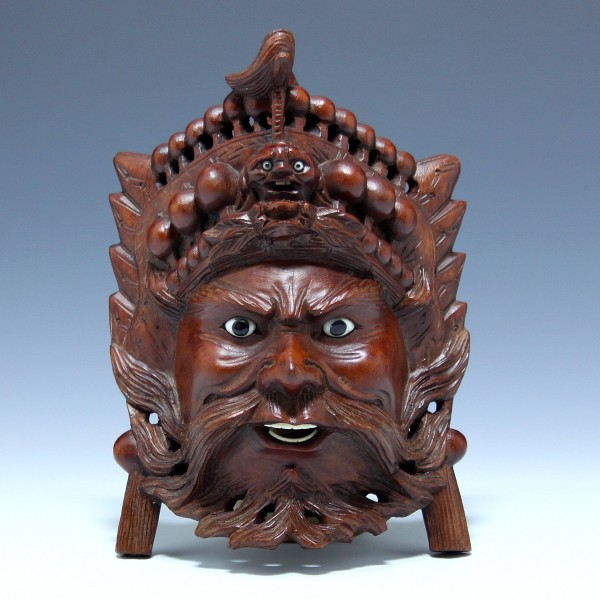 Balinese Carved Wood Mask with Glass Eyes