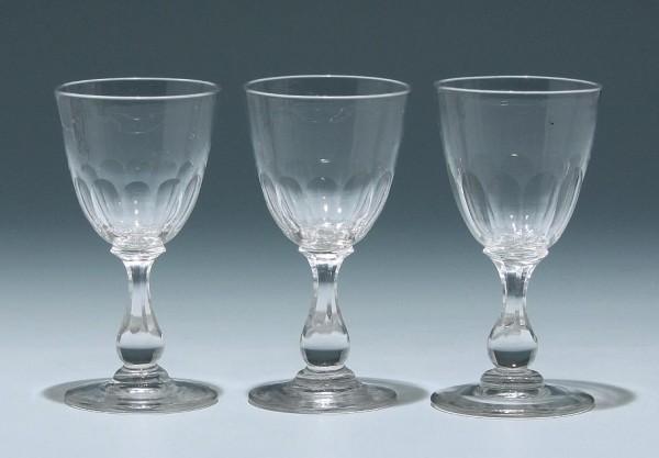 3 Bleikristall Kelchgläser Frankreich 19. Jh. - 11,5 cm